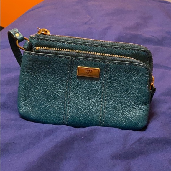 Teal Fossil wallet